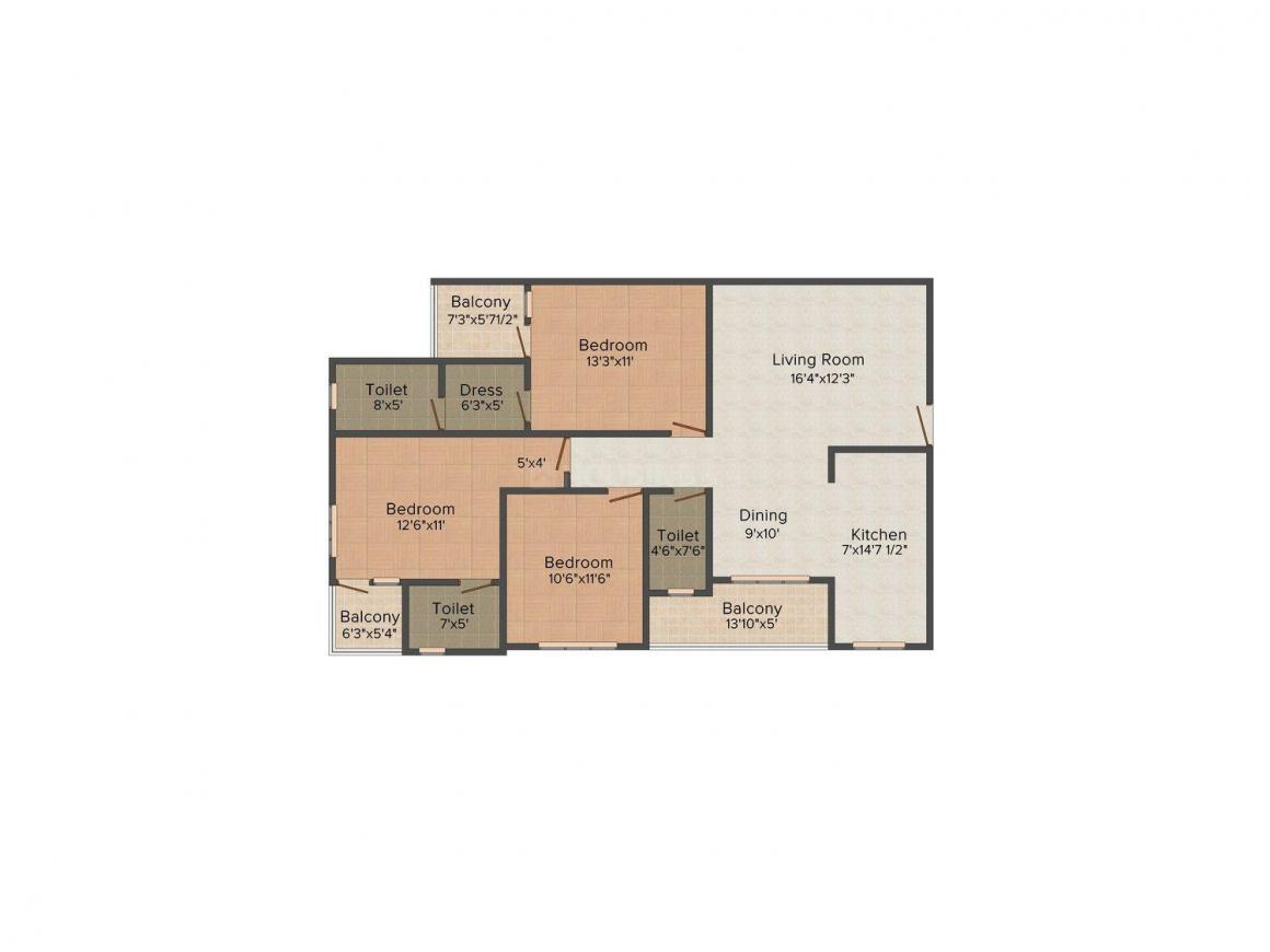Floor Plan Image of 1591 - 1771 Sq.ft 3 BHK Apartment for buy in UDB Emerald