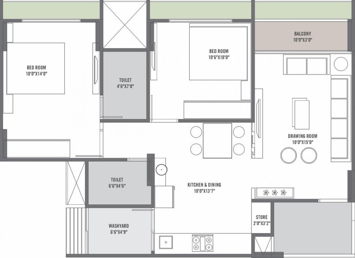 Shambhavi Swam Sky Floor Plan: 2 BHK Unit with Built up area of 643 sq.ft 1