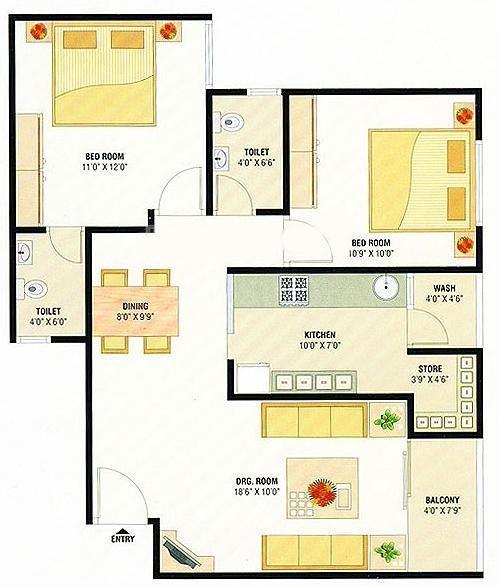 Devnandan Platina Floor Plan: 2 BHK Unit with Built up area of 1179 sq.ft 1