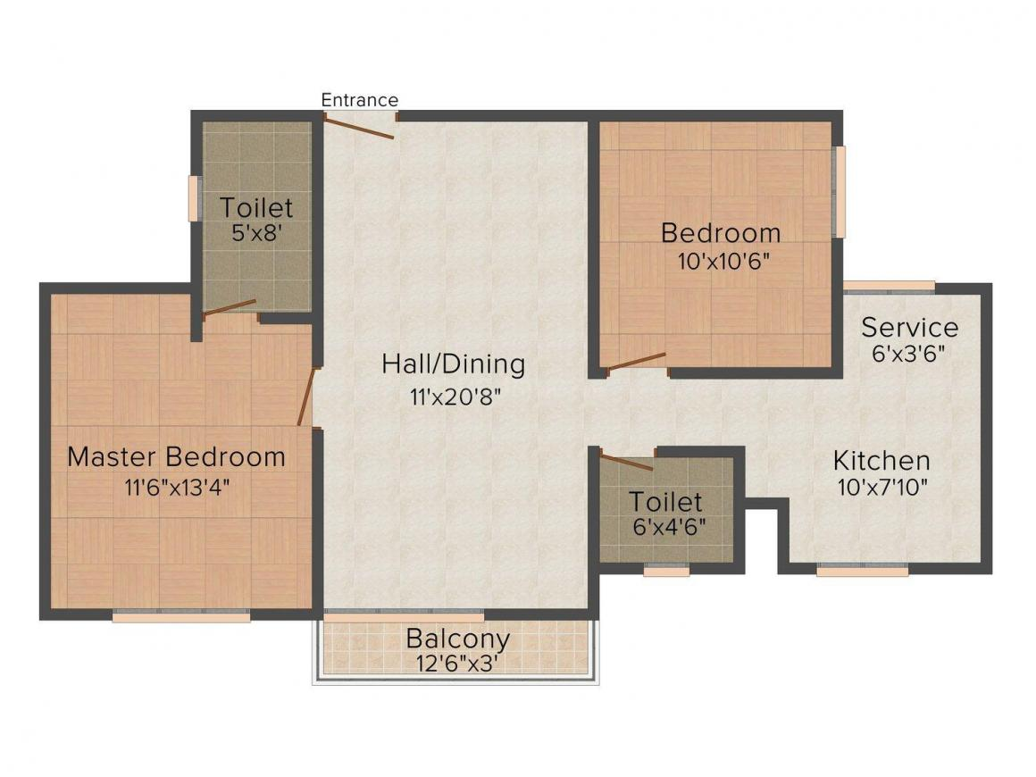 Floor Plan Image of 0 - 1271.0 Sq.ft 2 BHK Apartment for buy in Arena