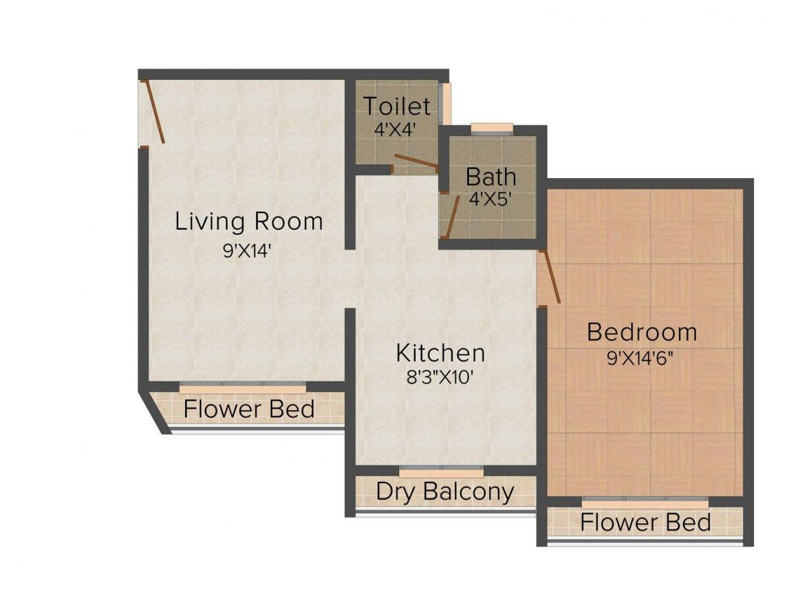 Nine Realcon Glorious Lifestyle Floor Plan: 1 BHK Unit with Built up area of 645 sq.ft 1