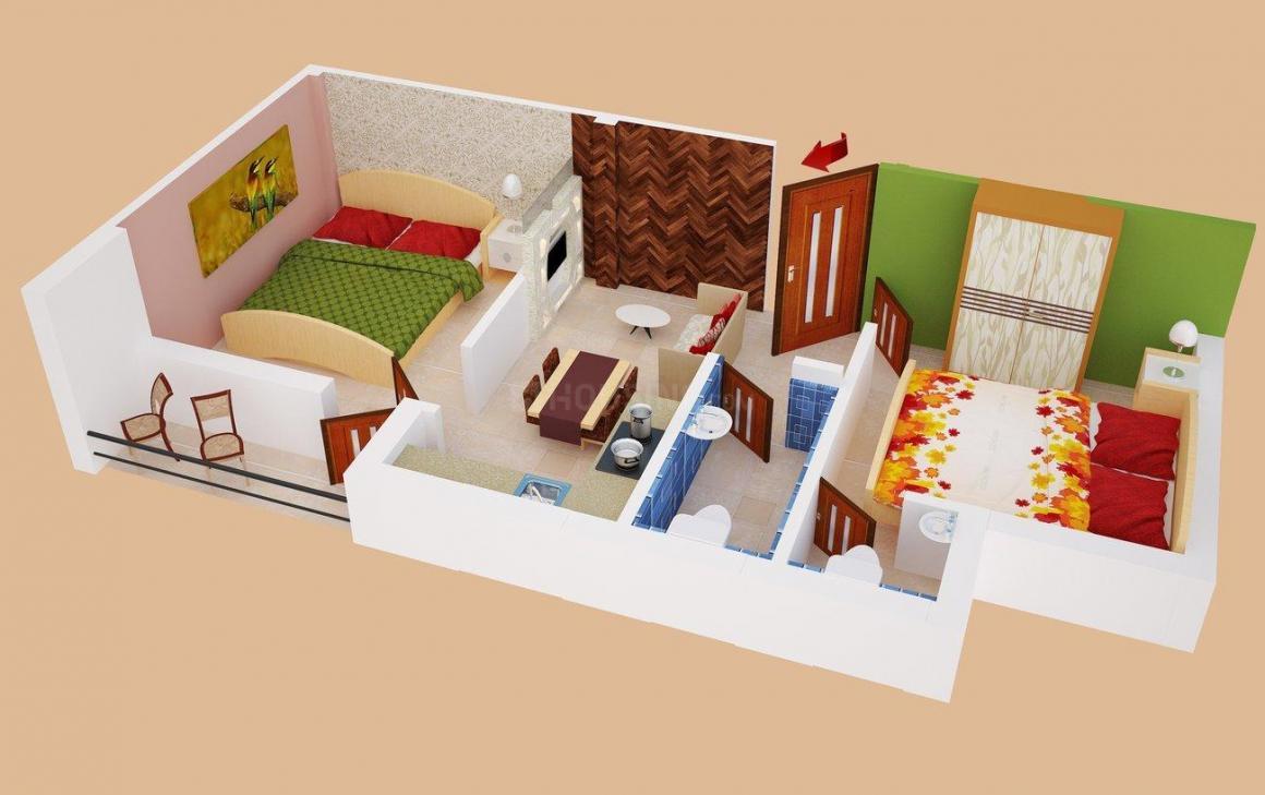 Nabaudyog Shantiniketan Floor Plan: 2 BHK Unit with Built up area of 690 sq.ft 1