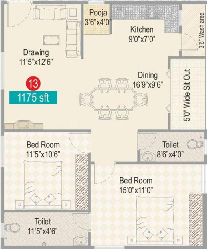 Sark Heights Two Floor Plan: 2 BHK Unit with Built up area of 1175 sq.ft 1
