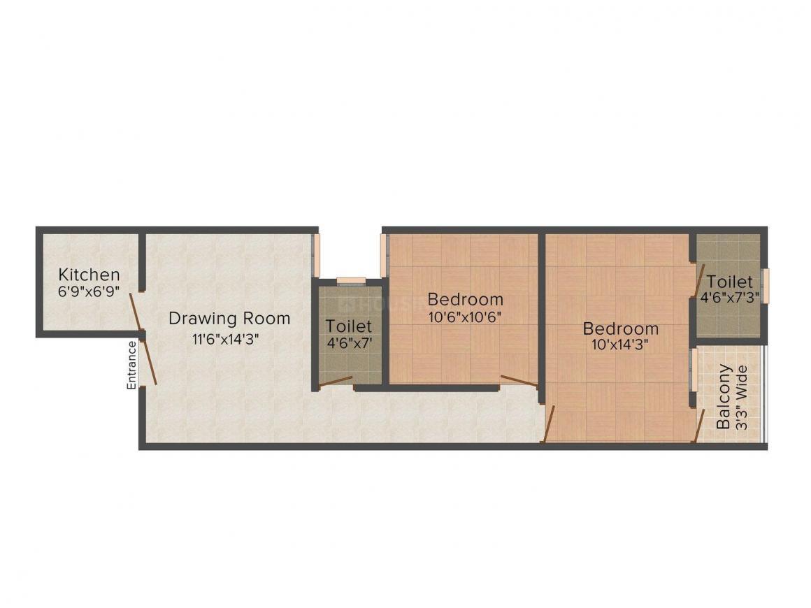 Floor Plan Image of 0 - 700.0 Sq.ft 2 BHK Independent Floor for buy in Gambhir Homes IV