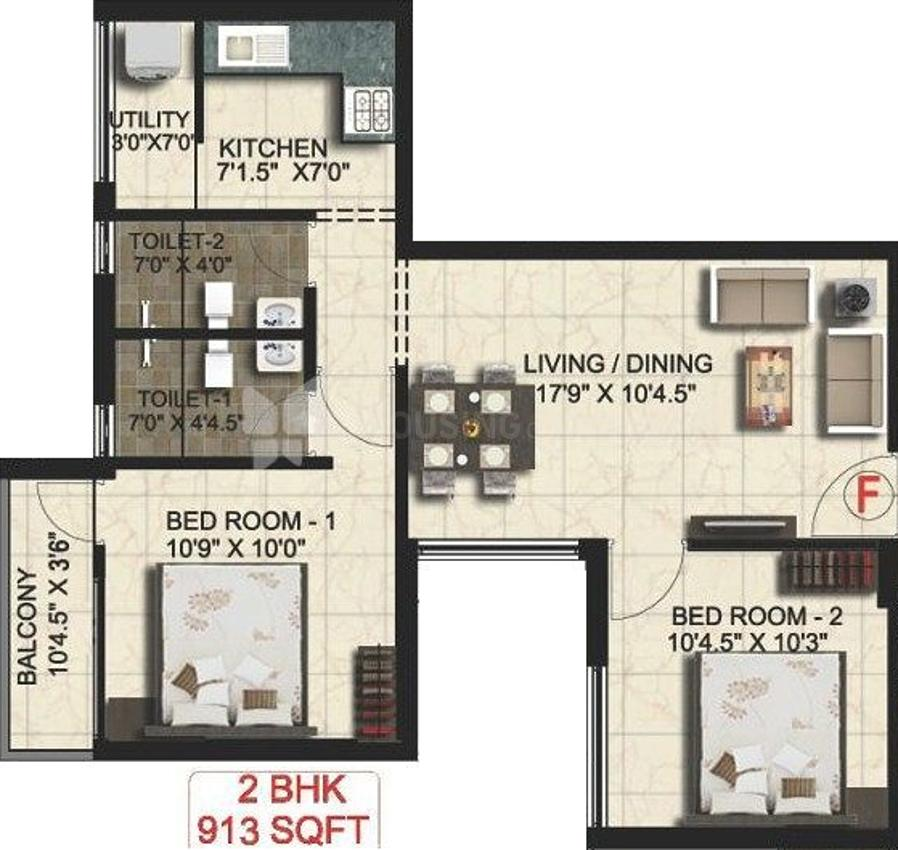 Real Padmasri Floor Plan: 2 BHK Unit with Built up area of 913 sq.ft 1