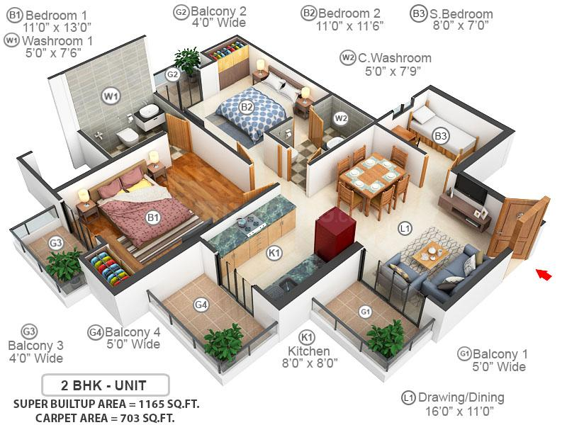 Samridhi Luxuriya Avenue Floor Plan: 2 BHK Unit with Built up area of 703 sq.ft 1
