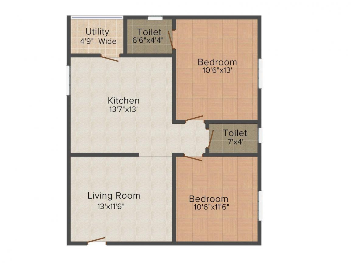 Floor Plan Image of 1000.0 - 1100.0 Sq.ft 2 BHK Apartment for buy in SVS Royal Diamond