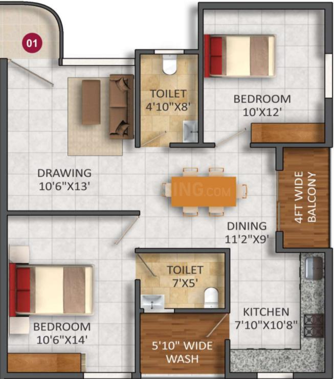 SVS Springs Floor Plan: 2 BHK Unit with Built up area of 1044 sq.ft 1