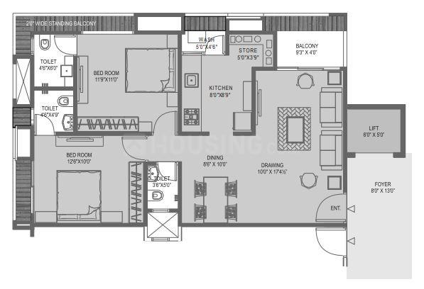 Iscon Iscon Flower Floor Plan: 2 BHK Unit with Built up area of 1233 sq.ft 1