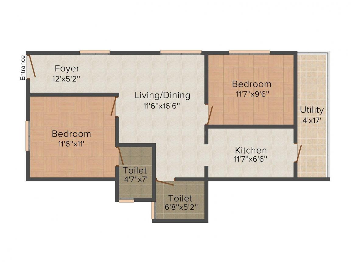 Floor Plan Image of 0 - 1000.0 Sq.ft 2 BHK Apartment for buy in Kumari Nivas