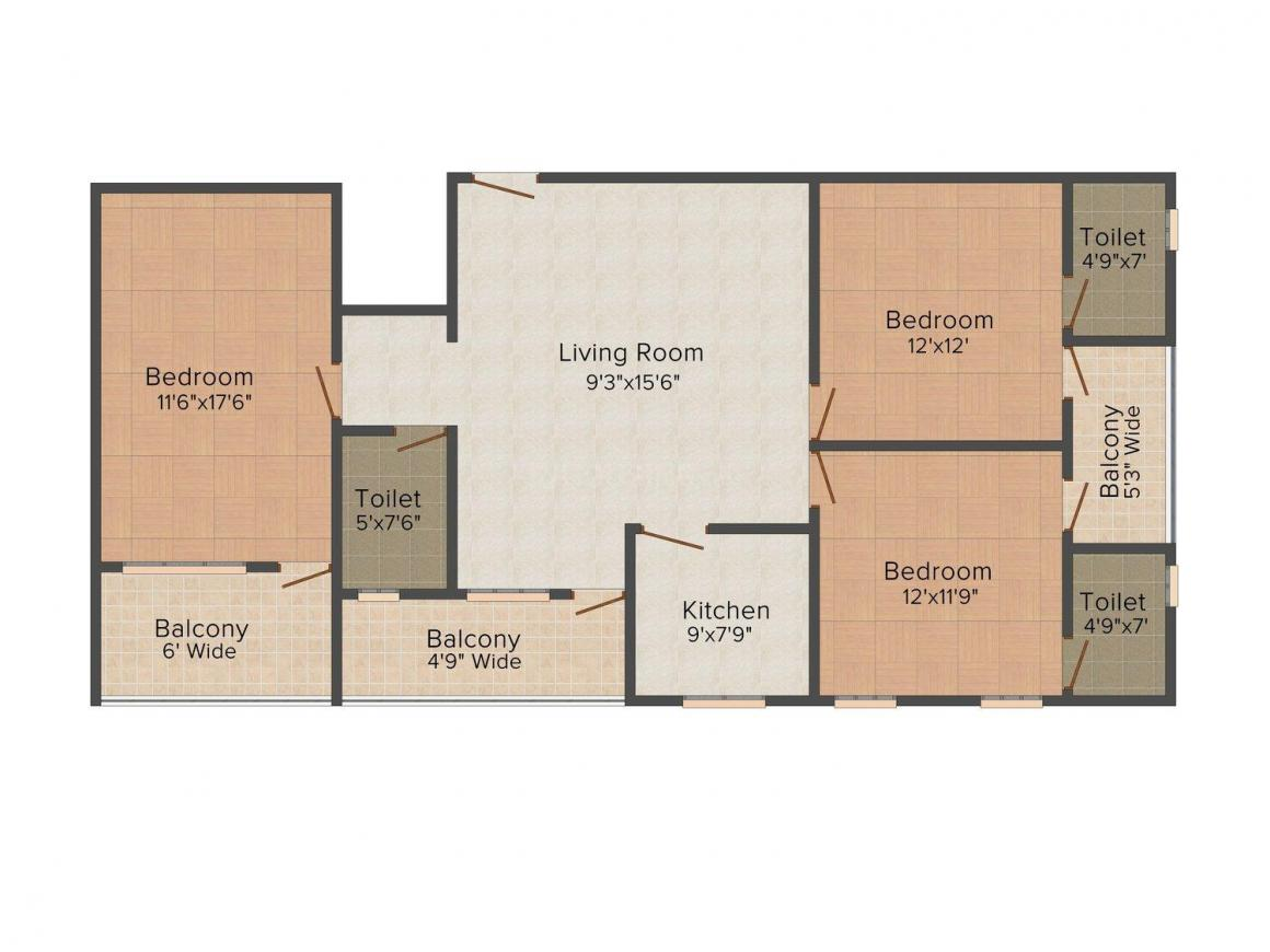 Floor Plan Image of 1080 - 1610 Sq.ft 2 BHK Apartment for buy in SNG Shivangan