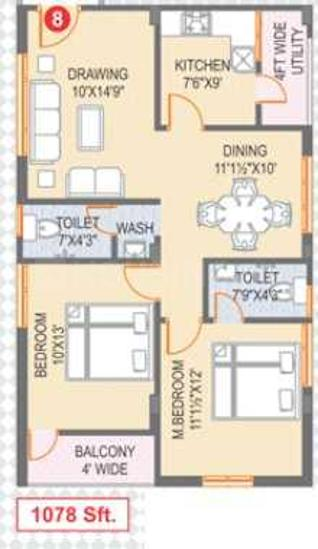 Sri Vinay Elite Floor Plan: 2 BHK Unit with Built up area of 1078 sq.ft 1