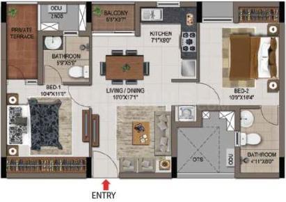 Casagrand Zenith Floor Plan: 2 BHK Unit with Built up area of 835 sq.ft 1