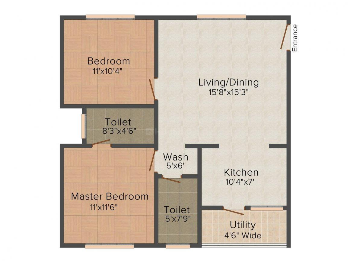 Krishna Arya Elegent Floor Plan: 2 BHK Unit with Built up area of 1002 sq.ft 1