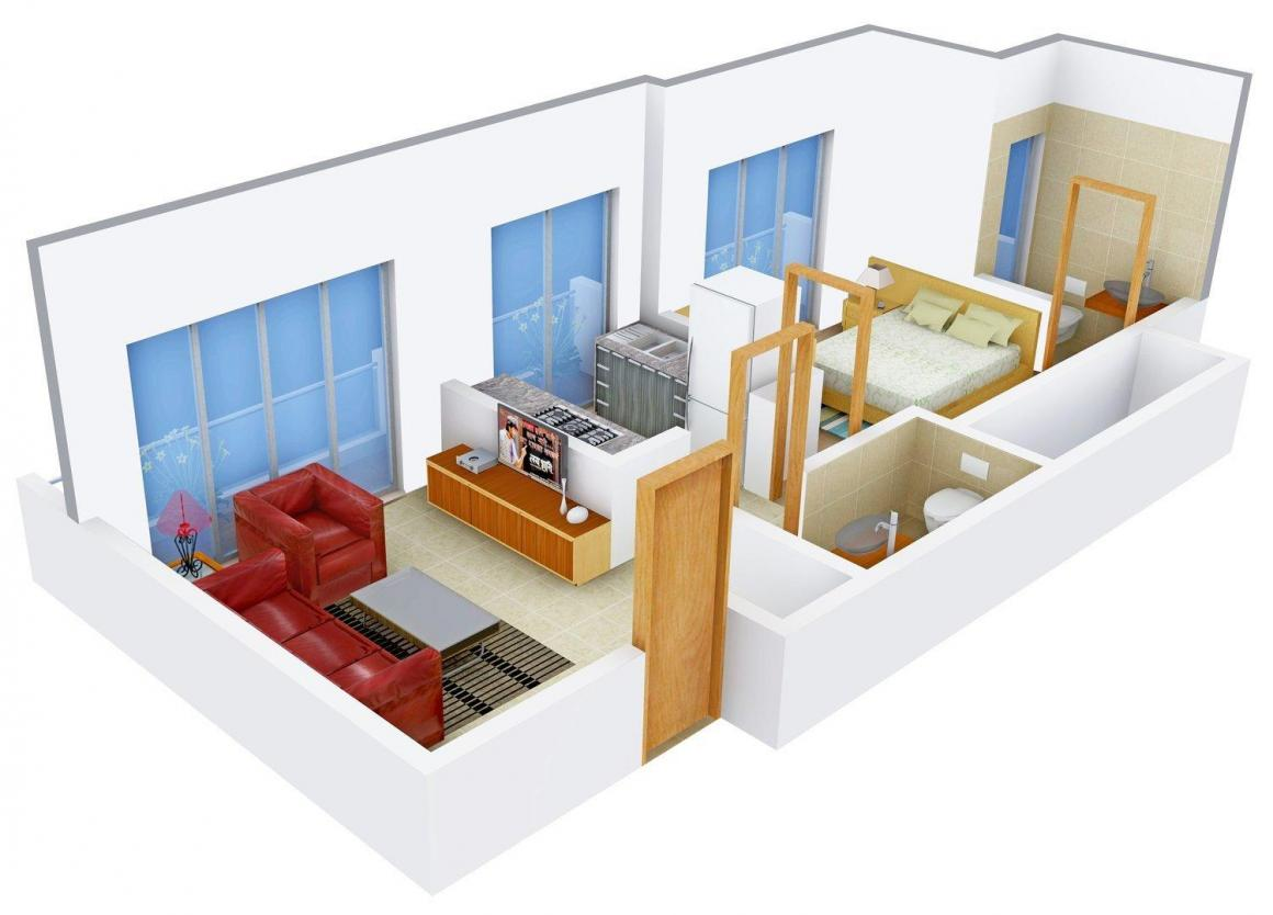 Floor Plan Image of 425.0 - 450.0 Sq.ft 1 BHK Apartment for buy in Skyline Pearl