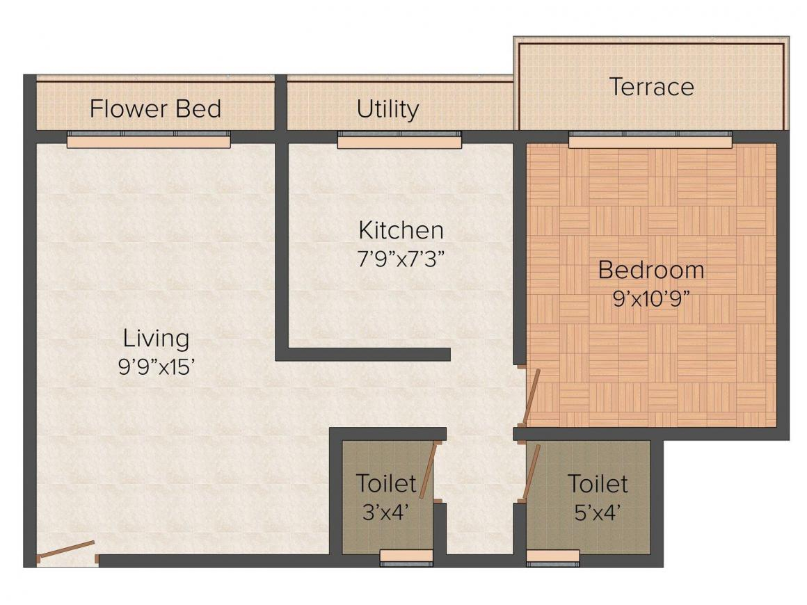 Arham Shubham Heights Floor Plan: 1 BHK Unit with Built up area of 472 sq.ft 1
