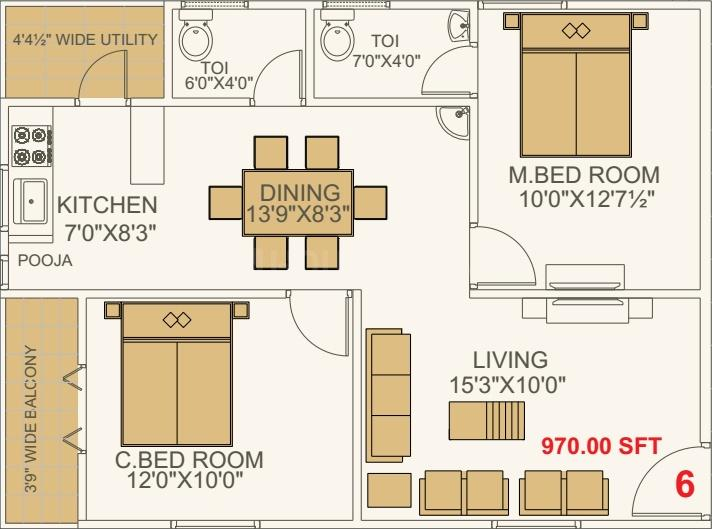NSK Exotica Floor Plan: 2 BHK Unit with Built up area of 970 sq.ft 1