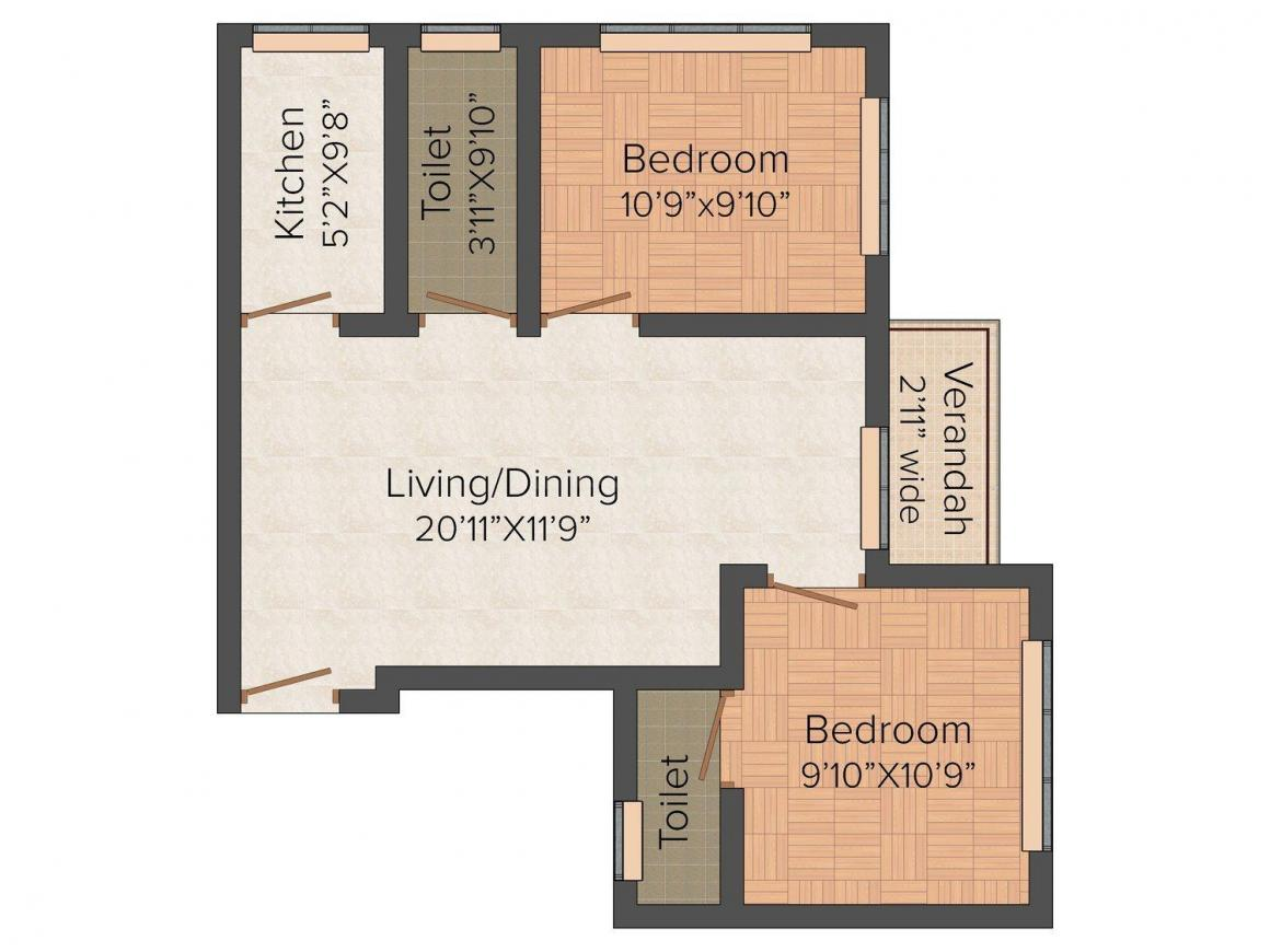 Floor Plan Image of 865 - 1260 Sq.ft 2 BHK Apartment for buy in Anushka Binoy Apartment