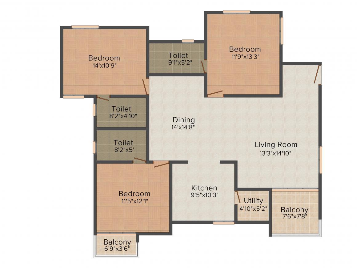Floor Plan Image of 1307.0 - 1533.0 Sq.ft 2 BHK Apartment for buy in Aratt Firenza