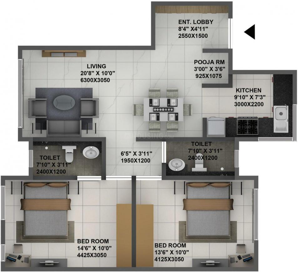 Terraform Dwarka Wing B Floor Plan: 2 BHK Unit with Built up area of 733 sq.ft 1
