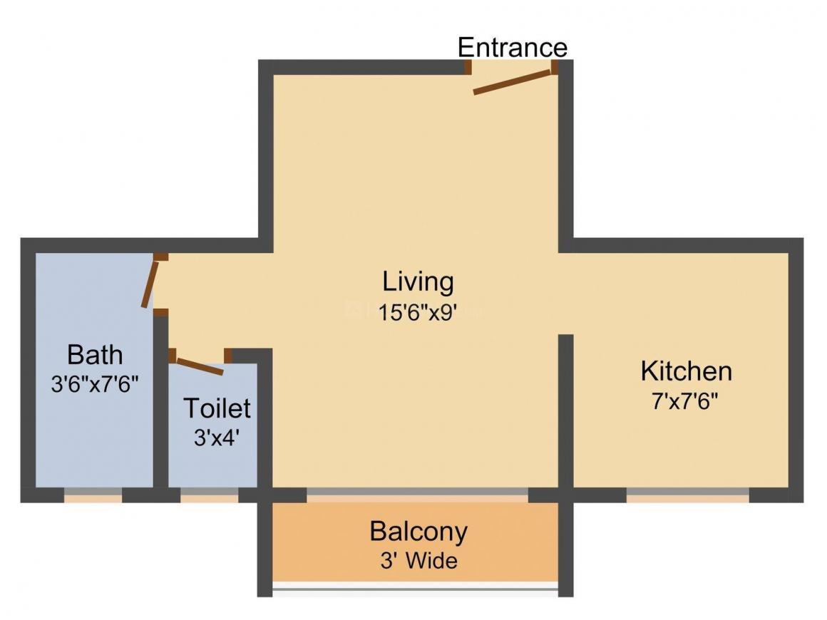 Real Sai Crystal Floor Plan: 1 BHK Unit with Built up area of 435 sq.ft 1