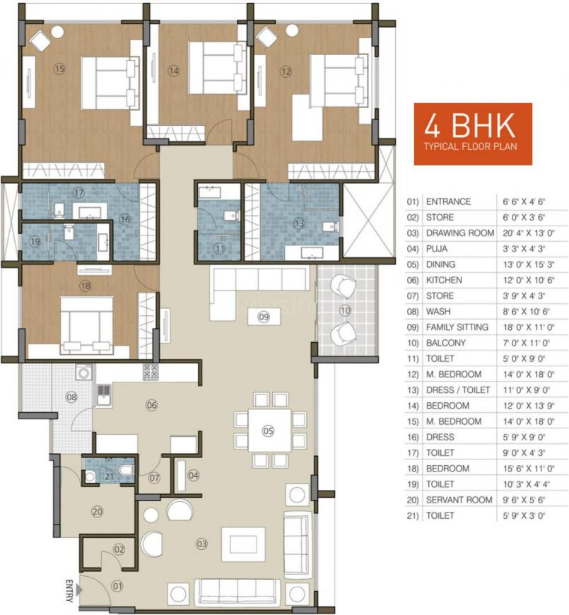Indraprasth Gulmohar Floor Plan: 4 BHK Unit with Built up area of 4400 sq.ft 1
