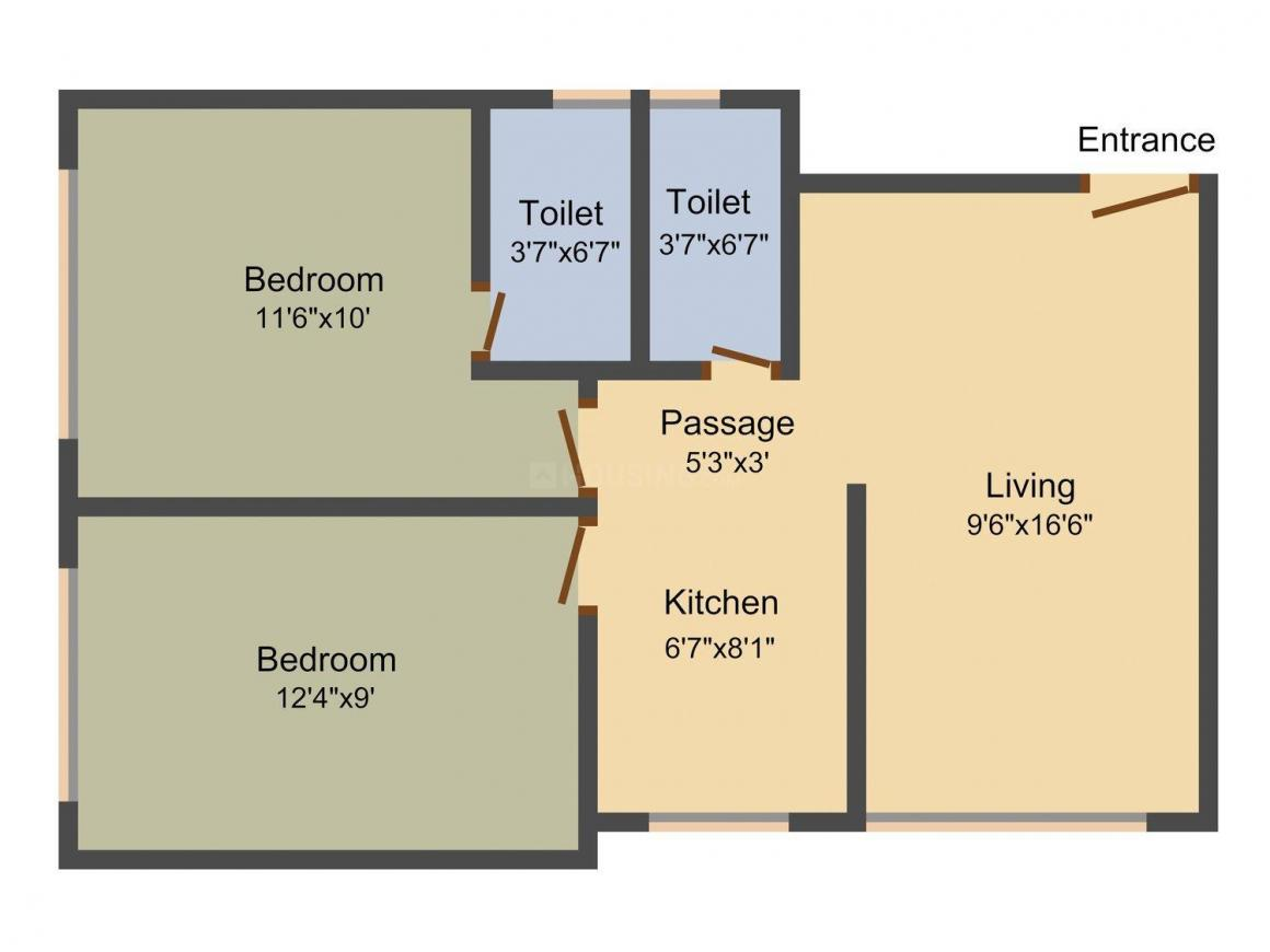 Floor Plan Image of 400.0 - 510.0 Sq.ft 1 BHK Apartment for buy in Dhariwal Swami Vivekanand CHSL