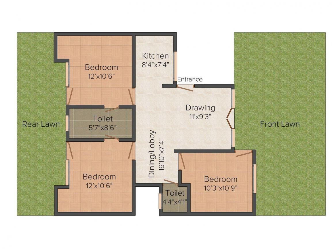 Om Sai Sai Dham - I Floor Plan: 3 BHK Unit with Built up area of 1000 sq.ft 1