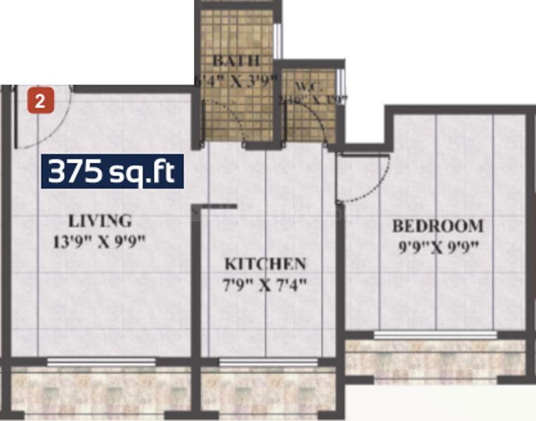 Floor Plan Image of 370 - 672 Sq.ft 1 BHK Apartment for buy in Skywards Regency