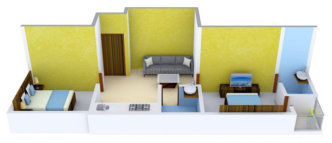 Floor Plan Image of 676 - 1373 Sq.ft 2 BHK Apartment for buy in Concord Enclave