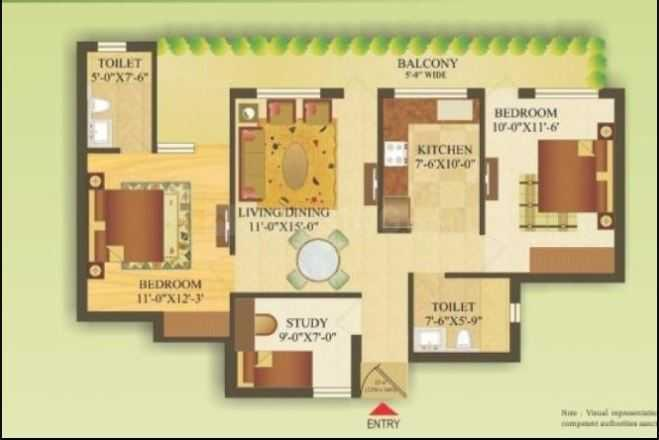 Gardenia Gateway Floor Plan: 2 BHK Unit with Built up area of 1045 sq.ft 1