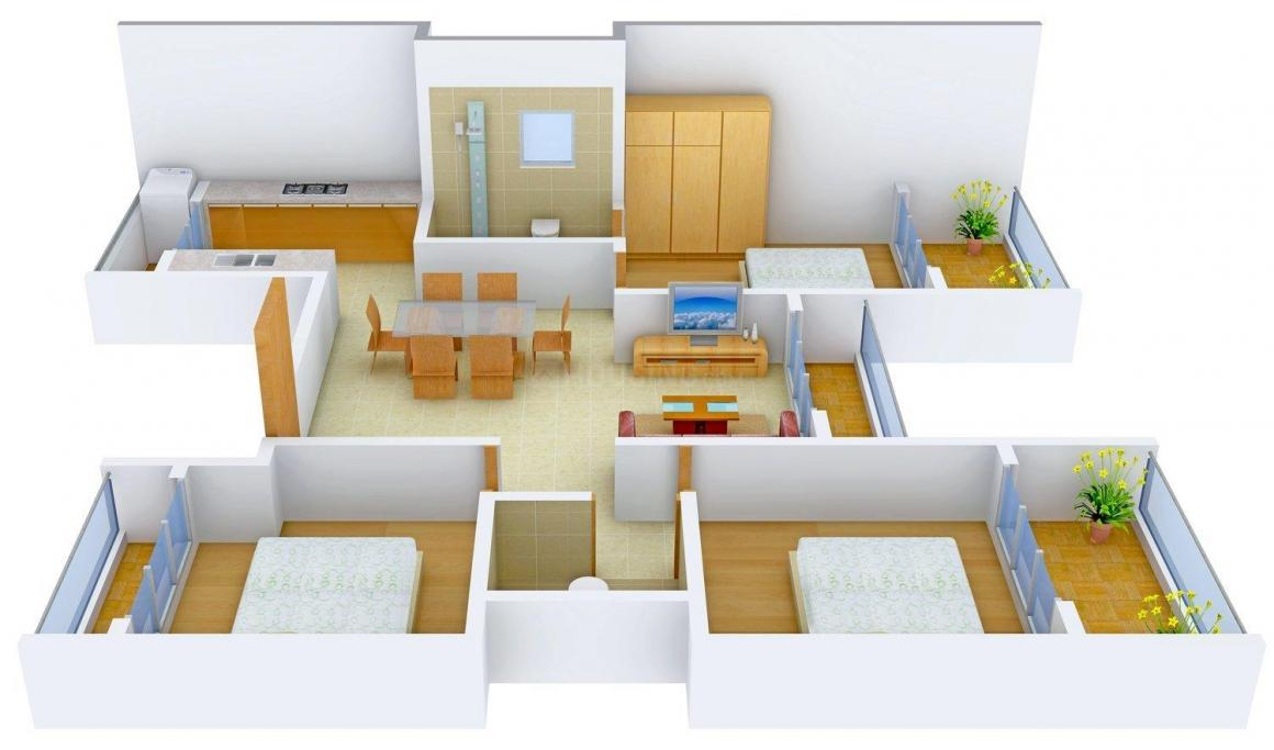 Floor Plan Image of 0 - 1380 Sq.ft 3 BHK Apartment for buy in Mangalmurti Shree Samarth Heights