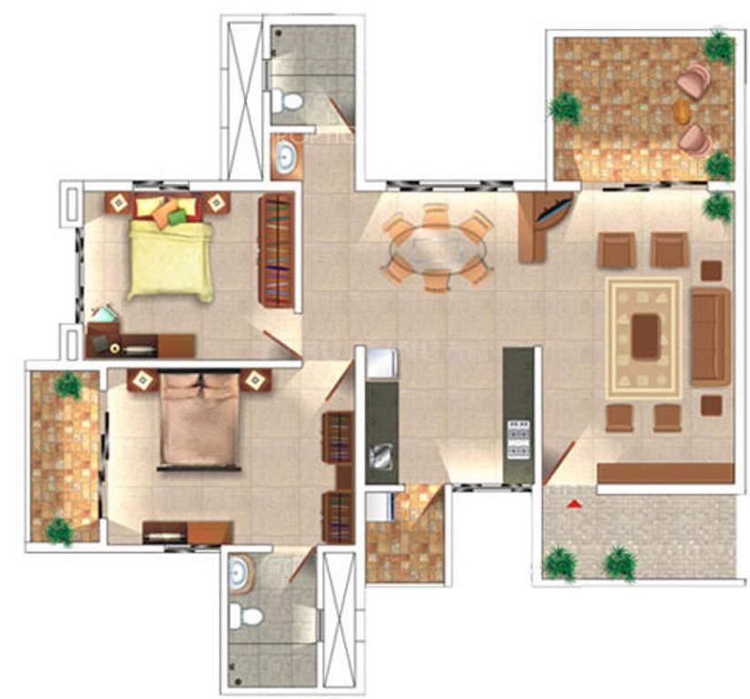Rohan Leher Floor Plan: 2 BHK Unit with Built up area of 950 sq.ft 1