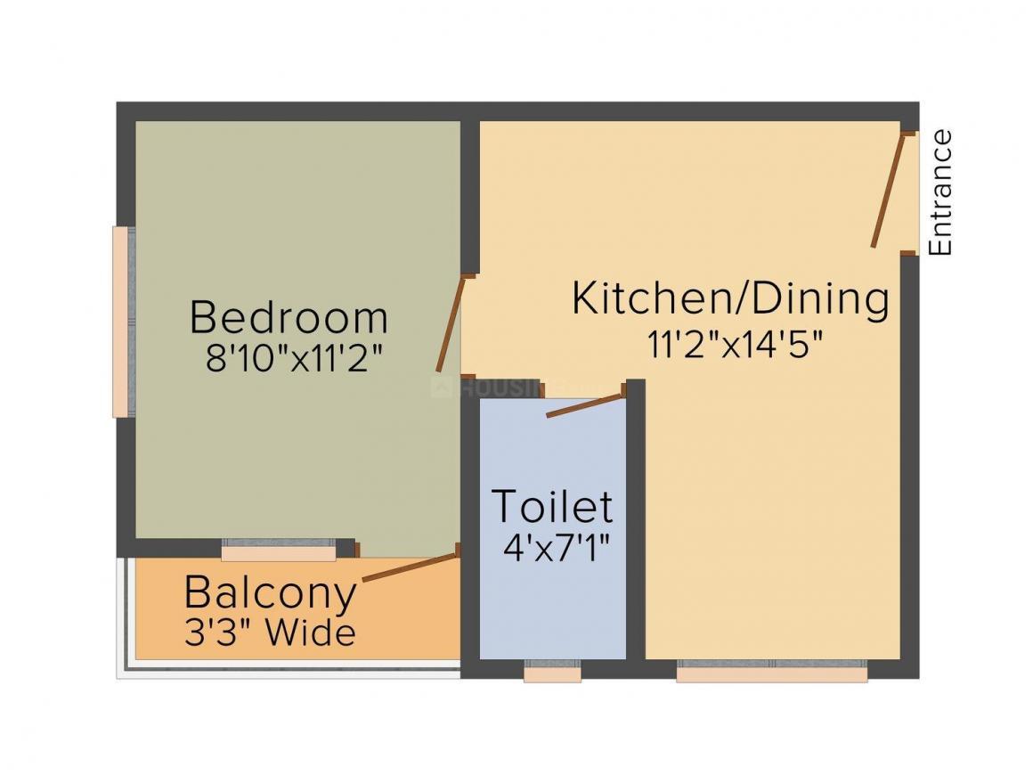 Floor Plan Image of 466 - 680 Sq.ft 1 BHK Apartment for buy in BGA Amrita Abashan 3