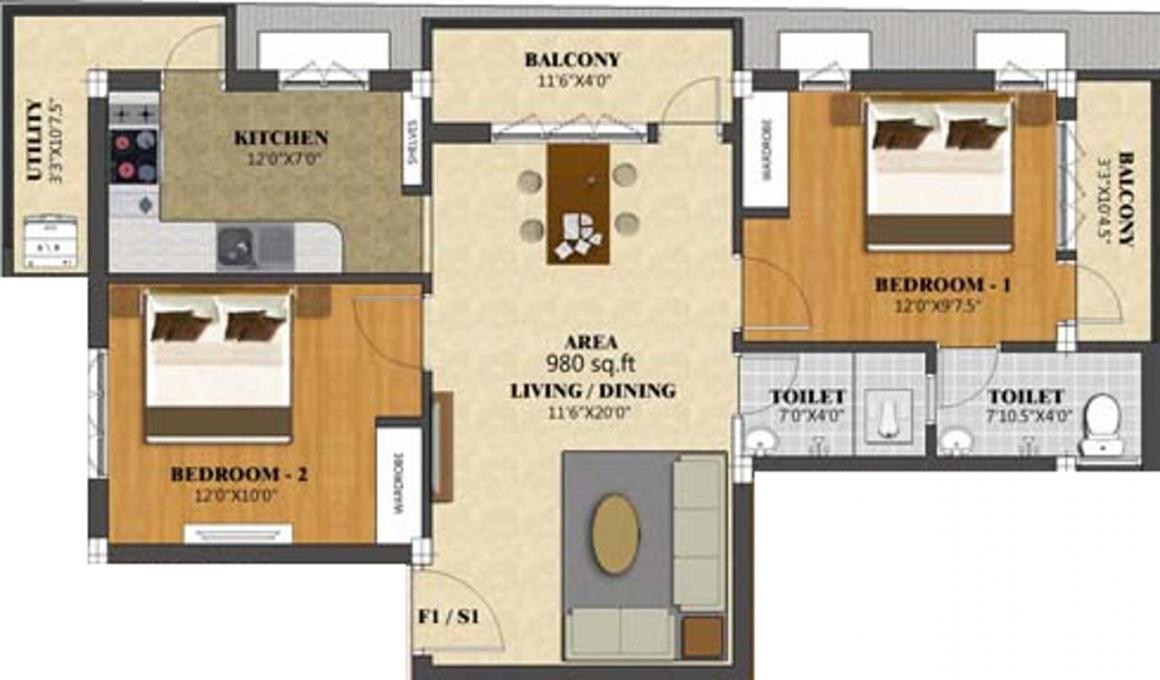 BK Enclave Floor Plan: 2 BHK Unit with Built up area of 980 sq.ft 1