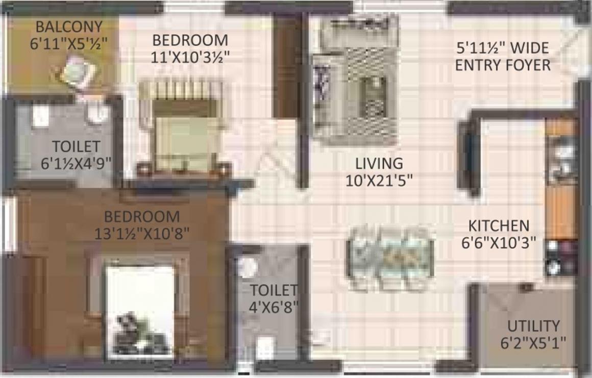 Jai Sri Devi Homes Khyathi Floor Plan: 2 BHK Unit with Built up area of 687 sq.ft 1