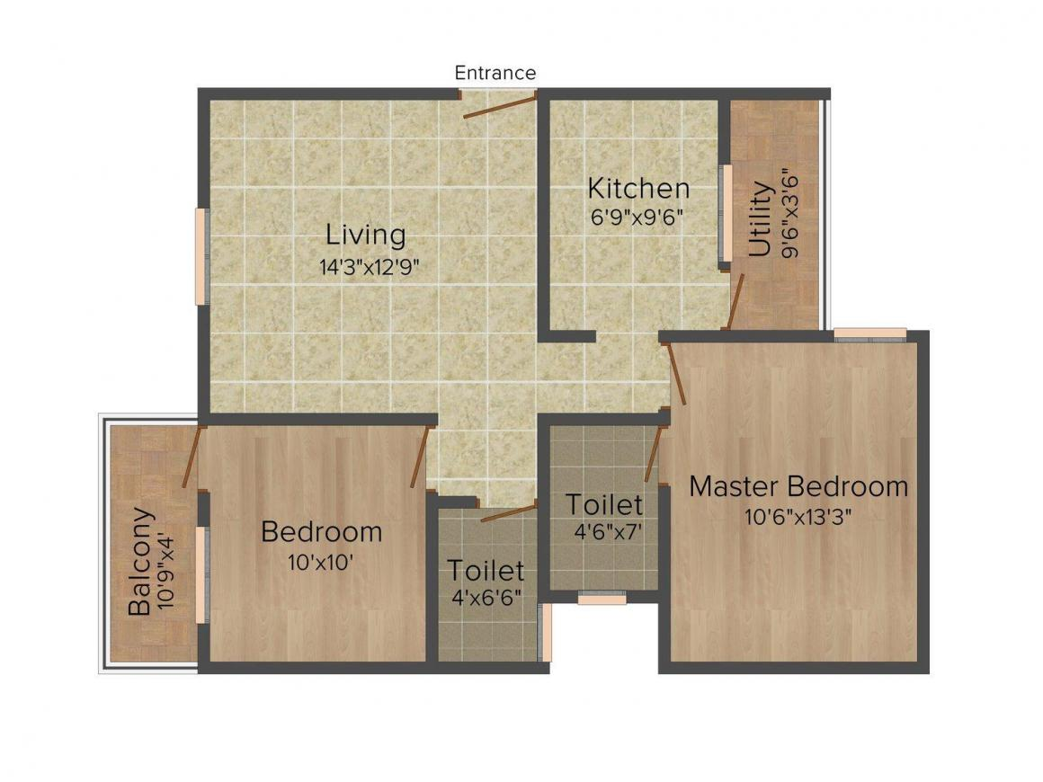 Floor Plan Image of 885 - 1440 Sq.ft 2 BHK Apartment for buy in SV Luxuria