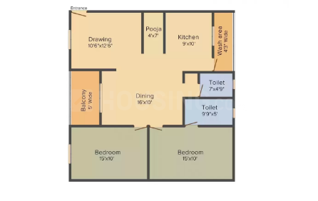 Sri Adarsh Heights Floor Plan: 2 BHK Unit with Built up area of 1230 sq.ft 1