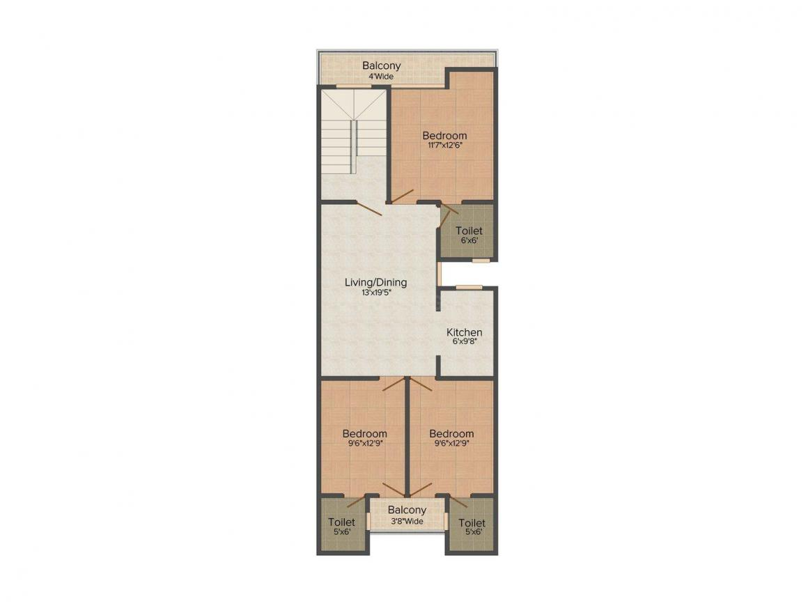 Realty Mentor Homes 1 Floor Plan: 3 BHK Unit with Built up area of 1200 sq.ft 1