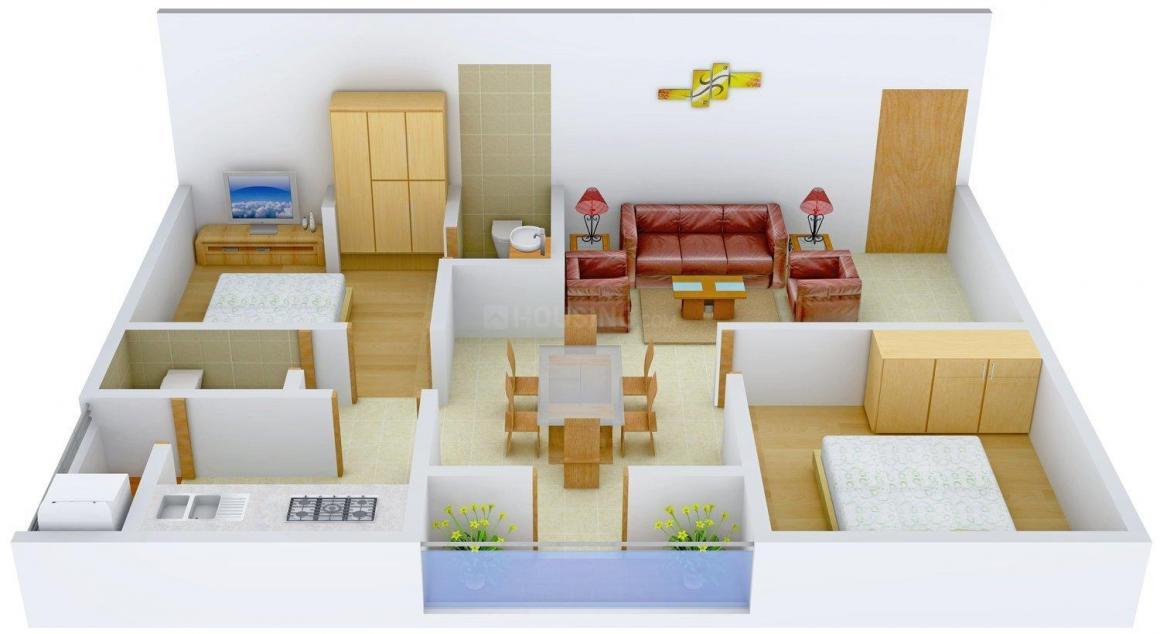 Floor Plan Image of 990.0 - 1449.0 Sq.ft 2 BHK Apartment for buy in Happy Home Habitat