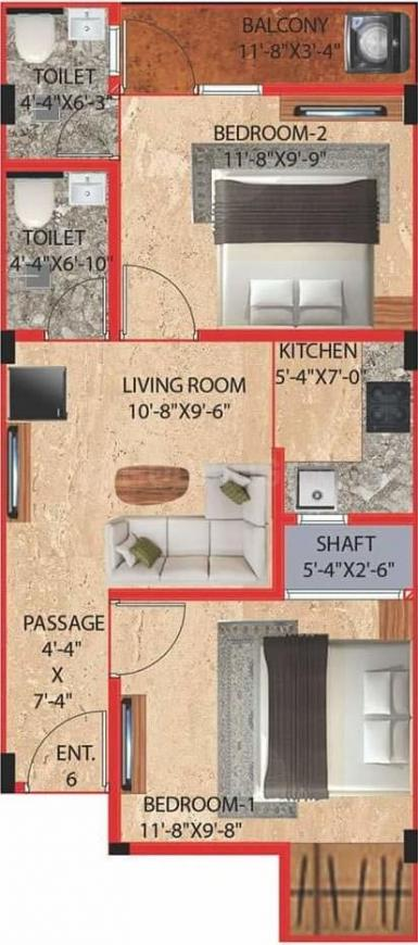 Saarthi Affordable Homes Floor Plan: 2 BHK Unit with Built up area of 550 sq.ft 1
