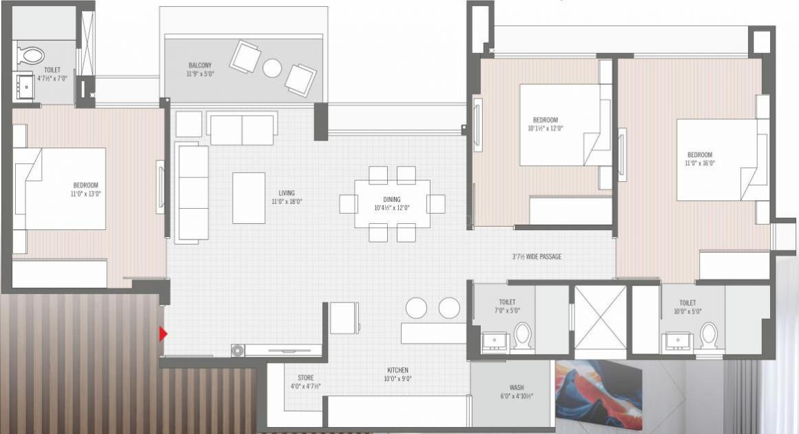Avirat Silver Harmony 2 Floor Plan: 3 BHK Unit with Built up area of 2118 sq.ft 1