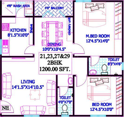 Sri Nivasam Floor Plan: 2 BHK Unit with Built up area of 1200 sq.ft 1