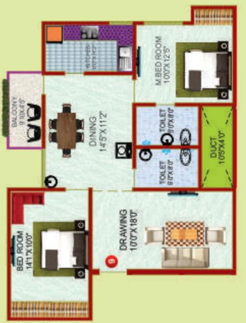 Rudra Sharmanand Complex Floor Plan: 2 BHK Unit with Built up area of 1150 sq.ft 1