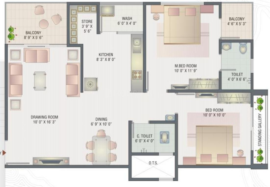 Shayona Green Floor Plan: 2 BHK Unit with Built up area of 1179 sq.ft 1