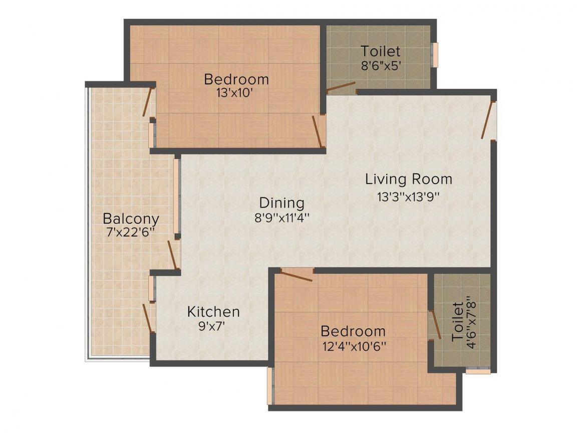 Floor Plan Image of 578 - 2185 Sq.ft 1 BHK Apartment for buy in Trimurty Kohinoor Garden