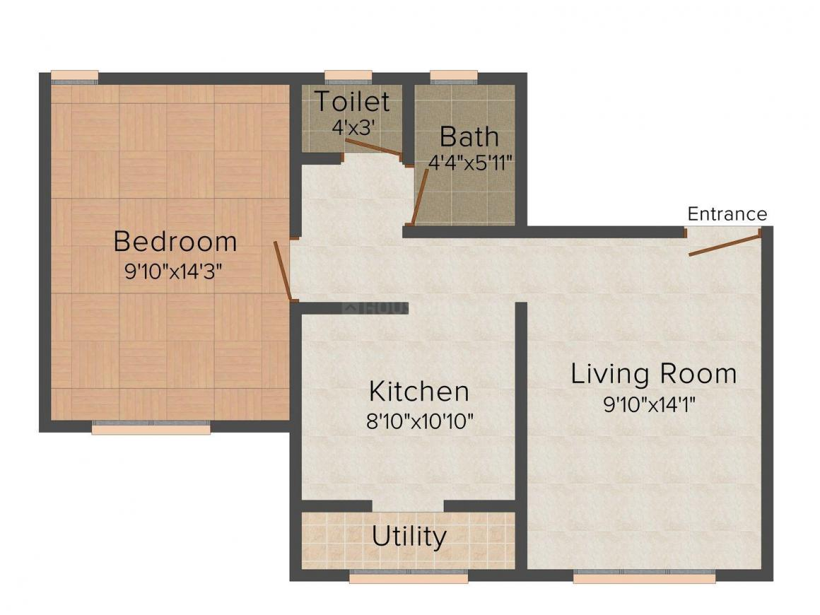Floor Plan Image of 610 - 650 Sq.ft 1 BHK Apartment for buy in Space Shiv-Niketan Tower