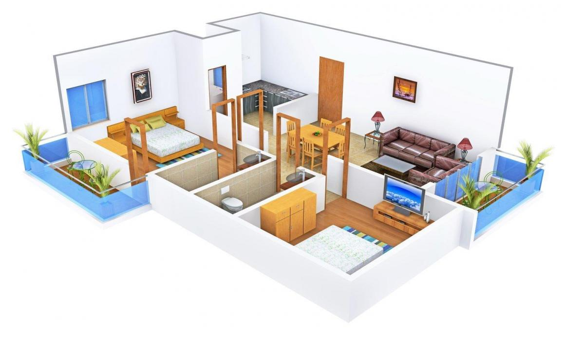 Floor Plan Image of 935 - 1241 Sq.ft 2 BHK Apartment for buy in SLV Enclave