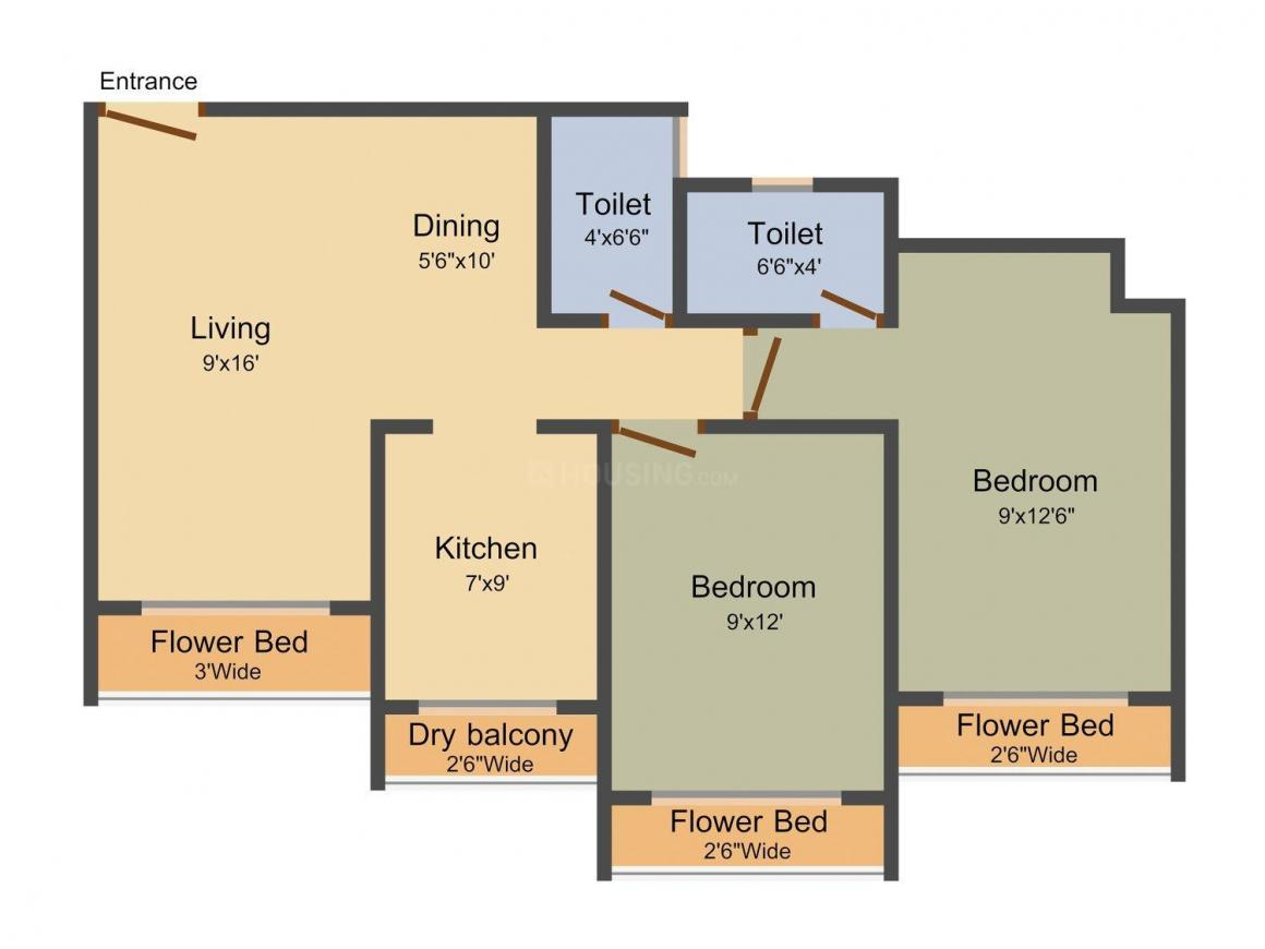 Rodricks A Exotica Floor Plan: 2 BHK Unit with Built up area of 950 sq.ft 1