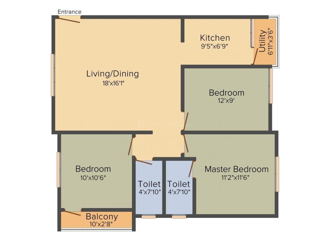 Floor Plan Image of 1145 - 1265 Sq.ft 3 BHK Apartment for buy in Gokulam